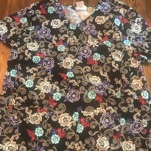 Black floral scrub top
